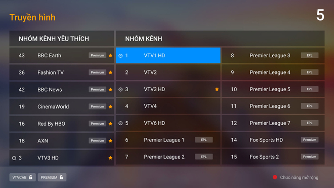 Tab xem lại trận đấu và Lịch phát sóng được tích hợp trong BoxOs 3